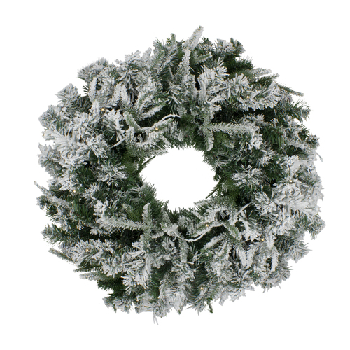 Pre-Lit Flocked Winfield Fir Artificial Christmas Wreath - 24-Inch, Warm White LED Lights - IMAGE 1