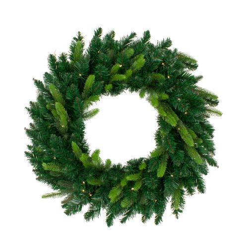 Pre-Lit Gunnison Pine Artificial Christmas Wreath - 36-Inch, Warm White LED Lights - IMAGE 1