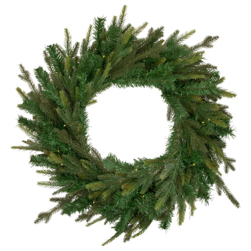 Pre-Lit LED Gunnison Pine Artificial Christmas Wreath - 24-Inch, Clear Lights - IMAGE 1