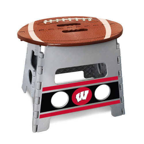 """14"""" Gray and Brown NCAA Wisconsin Badgers Folding Step Stool - IMAGE 1"""