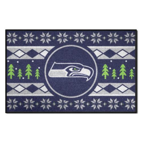 "Blue and Gray NFL Seattle Seahawks Rectangular Sweater Starter Mat 30"" x 19"" - IMAGE 1"