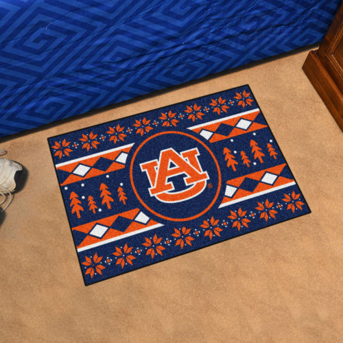 "19"" x 30"" Blue and Orange NCAA Auburn Tigers Rectangular Sweater Starter Mat - IMAGE 1"