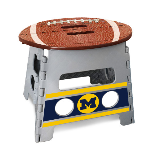 """14"""" Gray and Brown NCAA Michigan Wolverines Folding Step Stool - IMAGE 1"""