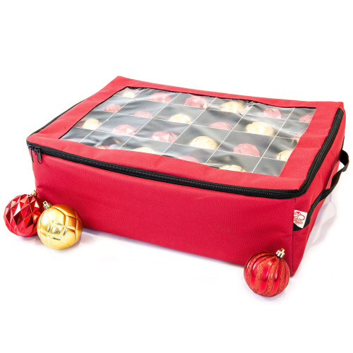 2-Tray Red Christmas Ornament Storage Bag - Holds up to 48 Ornaments - IMAGE 1