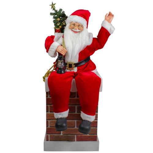 Santa Delivering Presents Down a Smokestack Chimney Christmas Decoration - IMAGE 1