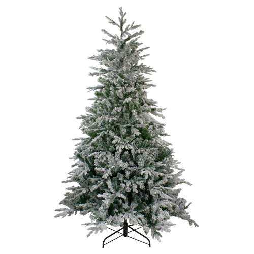 7.5' Flocked Winfield Fir Artificial Christmas Tree - Unlit - IMAGE 1