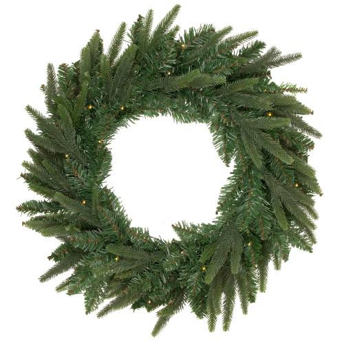 Pre-Lit Roosevelt Fir Artificial Christmas Wreath - 48-Inch, Warm White LED Lights - IMAGE 1
