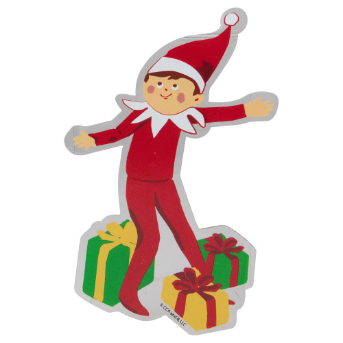 """7.5"""" Elf on a Shelf with Gifts Christmas Gels Window Cling - IMAGE 1"""