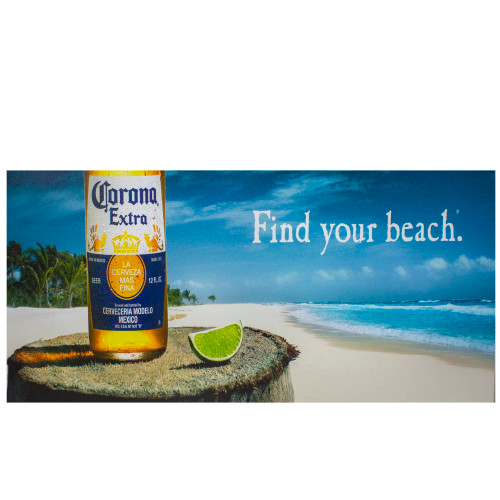 "23.5"" Corona Beer Tropical Beach Scene Lighted Canvas Wall Art - IMAGE 1"