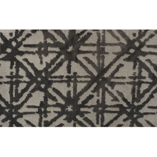 6' x 6' Abundance Geometric Lattice Pattern Beige and Black Square Polypropylene Area Rug - IMAGE 1