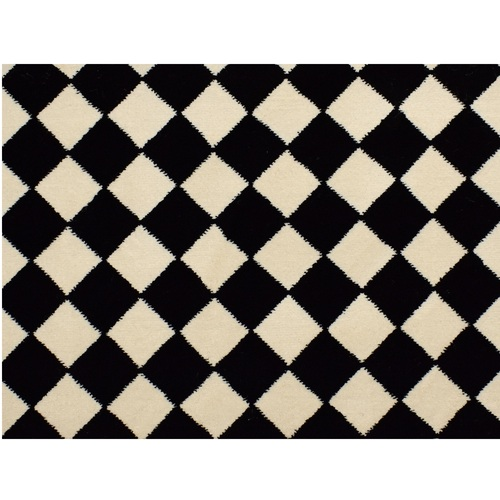 12' x 15' Diamond Patterned Black and Ivory Broadloom Rectangular Area Throw Rug - IMAGE 1