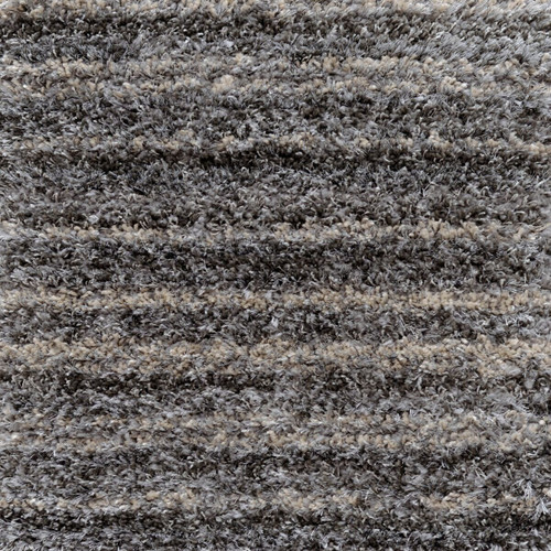 12' x 15' Rectangle Plush Muted Striped Pattern Gray Polypropylene Area Throw Rug - IMAGE 1