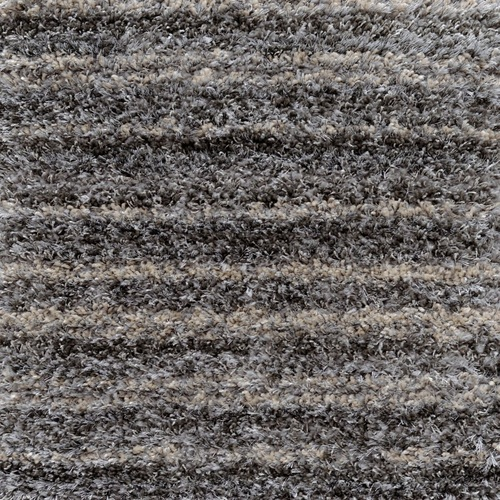 10' x 10' Square Plush Muted Striped Pattern Gray Polypropylene Area Throw Rug - IMAGE 1