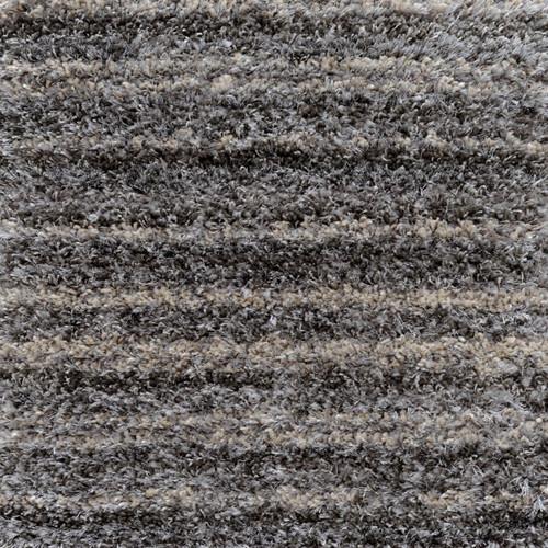 12' Round Plush Muted Striped Pattern Gray Polypropylene Area Throw Rug - IMAGE 1