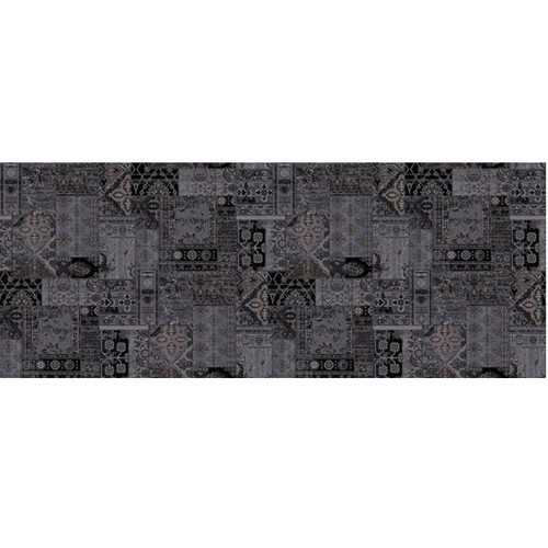 12' Greco Solution Dyed Black and Gray Round Polypropylene Woven Area Throw Rug - IMAGE 1