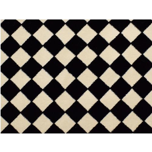 8' Diamond Patterned Black and Ivory Broadloom Round Area Throw Rug - IMAGE 1