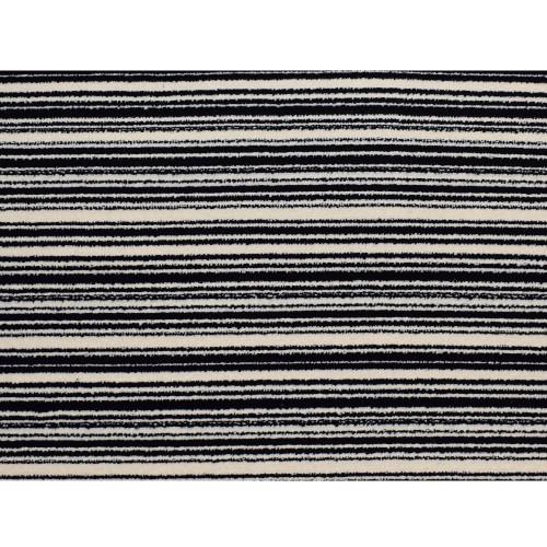 3' x 15' Stripes of Distinction Black and Ivory Polypropylene Rug Runner - IMAGE 1