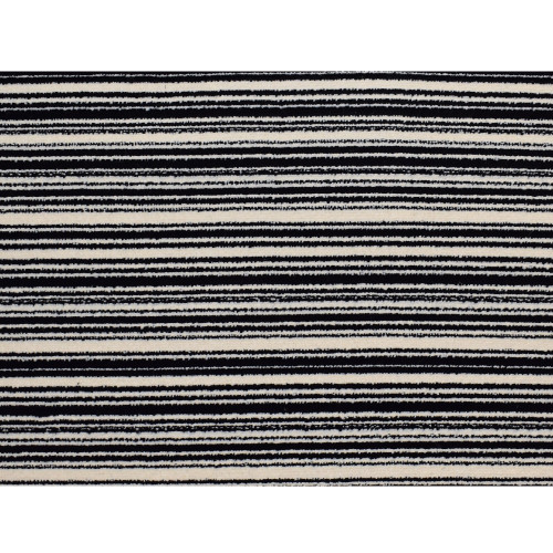 8' x 8' Stripes of Distinction Black and Ivory Square Polypropylene Area Throw Rug - IMAGE 1