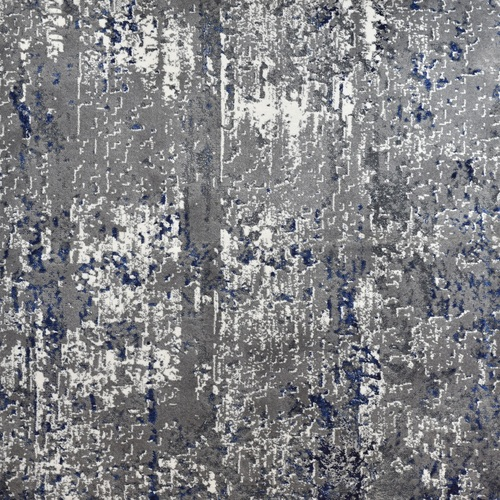 12' Artistic Abstract Patterned Blue and Gray Woven Round Area Throw Rug - IMAGE 1