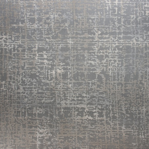 10' Oxford Abstract Gray and Ivory Round Polypropylene Area Throw Rug - IMAGE 1