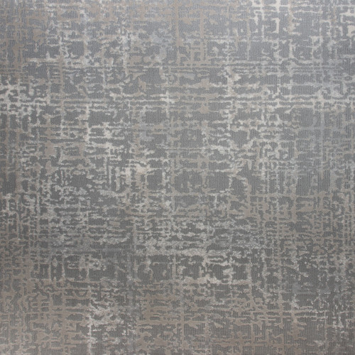 6' Oxford Abstract Gray and Ivory Round Area Throw Rug - IMAGE 1