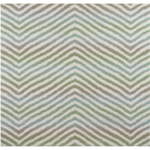 8' x 11' Green and Ivory Broadloom Chevron Pattern Rectangular Area Throw Rug - IMAGE 1