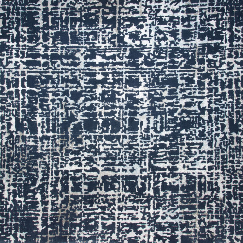 6' Sea Breeze Abstract Design Blue and Ivory Broadloom Round Area Throw Rug - IMAGE 1