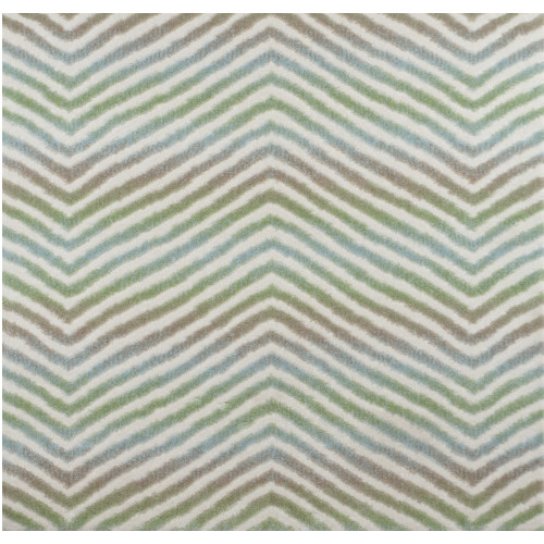 12' x 12' Green and Ivory Broadloom Chevron Pattern Square Area Throw Rug - IMAGE 1