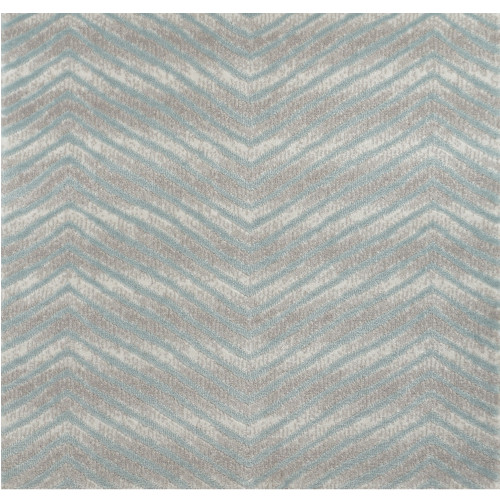 6' Avid Blue and Gray Chevron Round Area Throw Rug - IMAGE 1