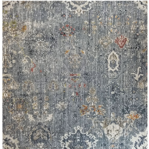 12' Fashion Blue and Gray Woven Round Area Rug - IMAGE 1