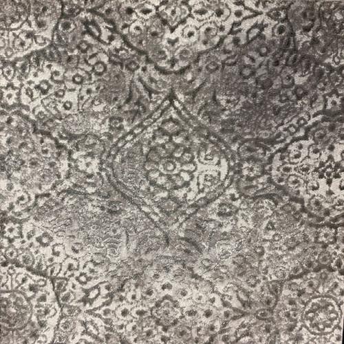 10' x 14' Gray and Ivory Symmetrical Motifs Rectangular Polypropylene Area Throw Rug - IMAGE 1