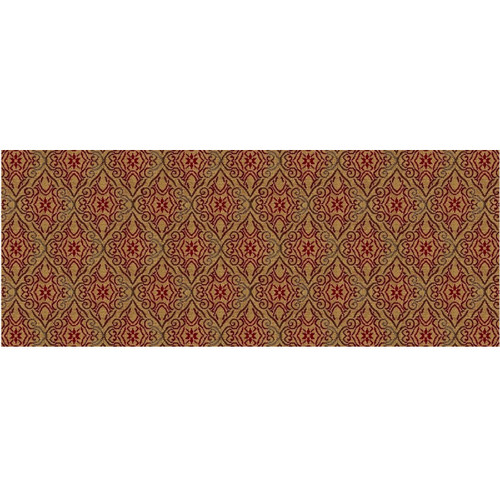 6' x 6' Botticelli Gold and Red Woven Square Area Throw Rug - IMAGE 1