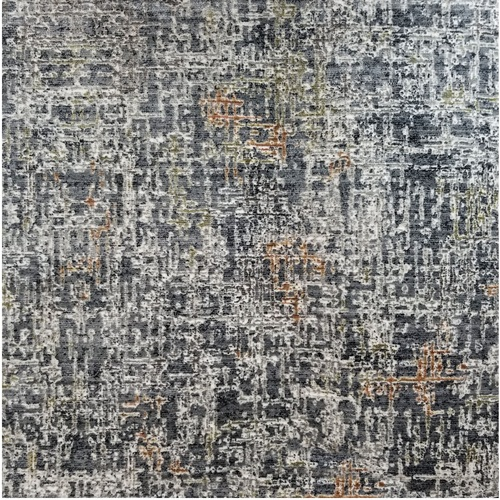 3' x 15' Radiant Blue and Gray Broadloom Rectangular Area Throw Rug Runner - IMAGE 1