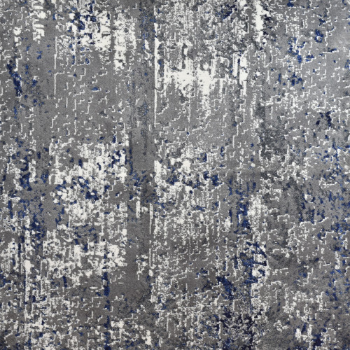 8' Artistic Abstract Patterned Blue and Gray Woven Round Area Throw Rug - IMAGE 1