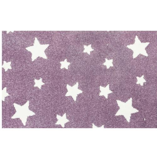 3' x 15' Castor Purple and Ivory Star Pattern Ultra-Soft Rectangular Rug Runner - IMAGE 1