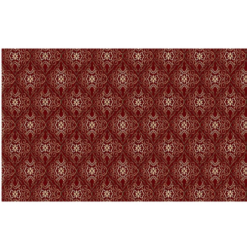 13' x 15' Red and Ivory Woven Rectangular Area Throw Rug - IMAGE 1