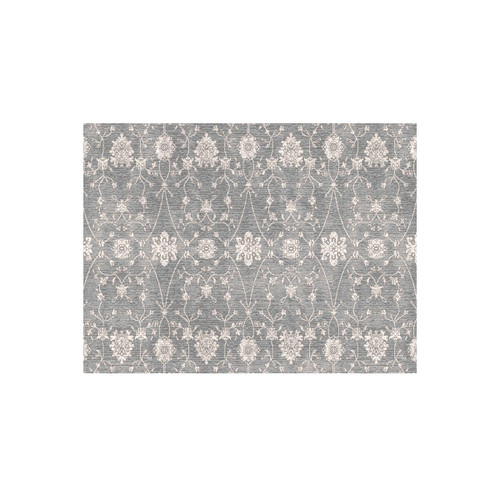 6' x 9' Gray and Ivory Ornamental Motifs Round Area Throw Rug - IMAGE 1