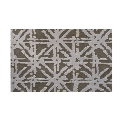 6' x 9' Superiority Geometric Lattice Pattern Gray and Silver Rectangular Polypropylene Area Rug - IMAGE 1