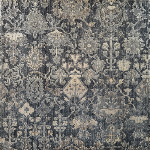10' x 14' Blue and Gray Floral Rectangular Area Throw Rug - IMAGE 1