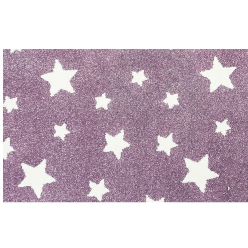 10' x 10' Castor Purple and Ivory Star Pattern Ultra-Soft Square Area Throw Rug - IMAGE 1