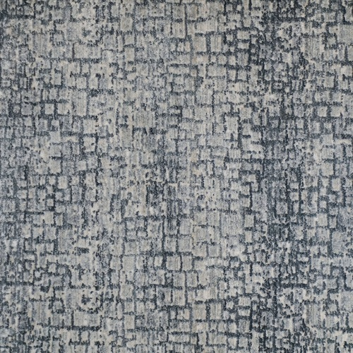 6' x 9' Blue and Gray Distressed Geometric Broadloom Rectangular Area Rug - IMAGE 1