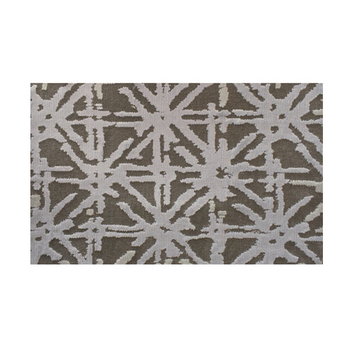 6' Superiority Geometric Lattice Pattern Gray and Silver Round Polypropylene Area Rug - IMAGE 1