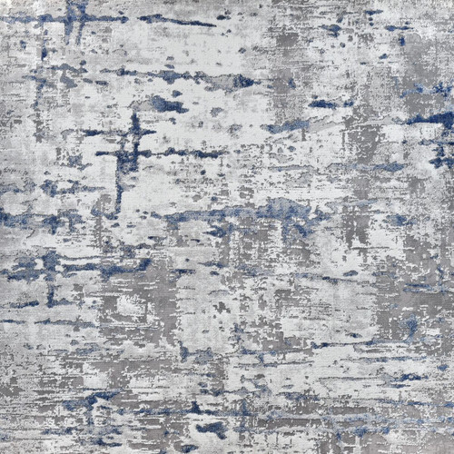 10' x 14' Current Blue and Ivory Dyed Rectangular Area Throw Rug - IMAGE 1
