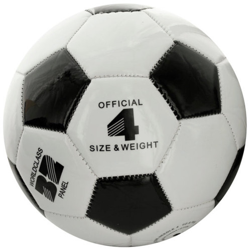 """Pack of 2 Black and White Size 4 Glossy Finish Soccer Ball 7.5"""" - IMAGE 1"""