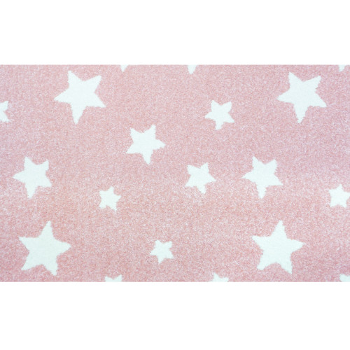3' x 20' Pink and Ivory Altair Star Pattern Rectangular Area Throw Rug Runner - IMAGE 1