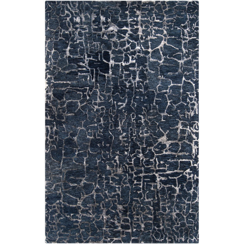 10' x 14' Contemporary Navy Blue and White Rectangular Area Throw Rug - IMAGE 1