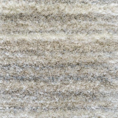 3' x 15' Plush Striped Pattern Beige Polypropylene Rug Runner - IMAGE 1