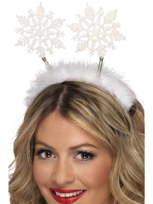 """30"""" White Snowflake Women Adult Christmas Head Boppers Costume Accessory - One Size - IMAGE 1"""