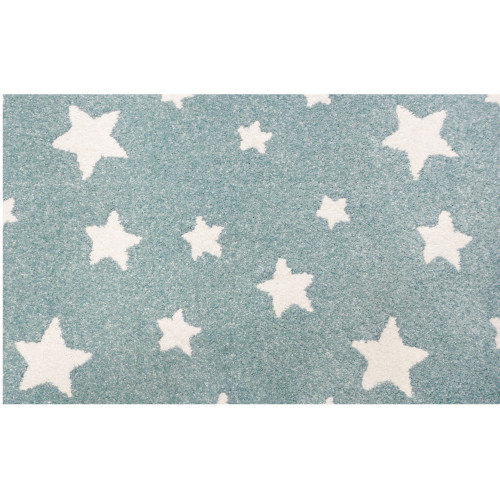 3' x 10' Blue and Ivory Alpha Star Pattern Rectangular Area Throw Rug Runner - IMAGE 1