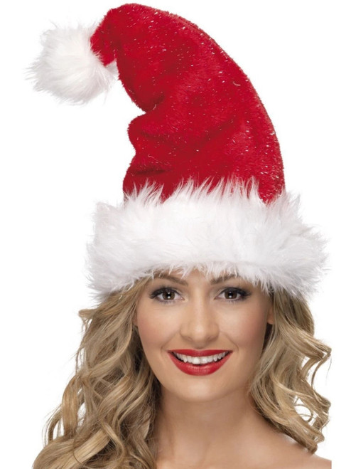 """31"""" Red and White Deluxe Unisex Adult Christmas Santa Hat Costume Accessory - One Size - IMAGE 1"""